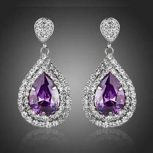Purple Fashion Earrings Long Drop Austrian Crystal Chandelier Pear Drop Earrings