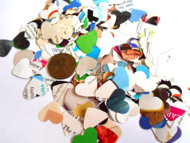 Recycled paper confetti hearts heart confetti party supplies wedding supplies