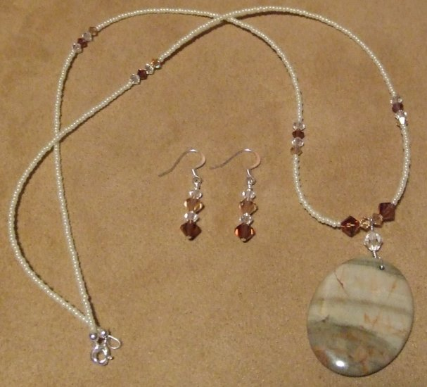 Silver Myst Gemstone Pendant and Swarovski Crystal Set