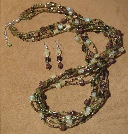 Chocolate/Olive Multi-Strand Necklace & Earring Fashion Set