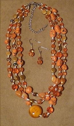 Sunkiss Triple-Strand Necklace & Earring Fashion Set