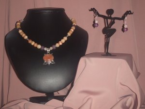 Onyx Marble and Amethyst Gemstone Necklace & Earring Set