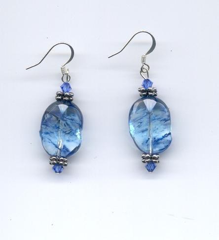 Blueberry Quartz & Sapphire Crystal Earrings