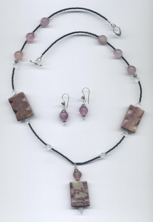 African Picture Jasper Brazilian Amethyst Necklace Set