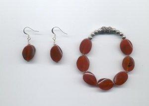Carnelian Bracelet & Earring Set
