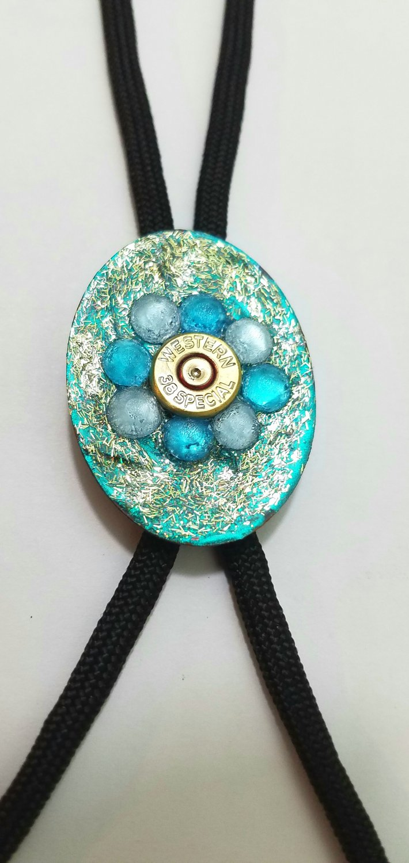 Bolo tie turquoise with gun primer
