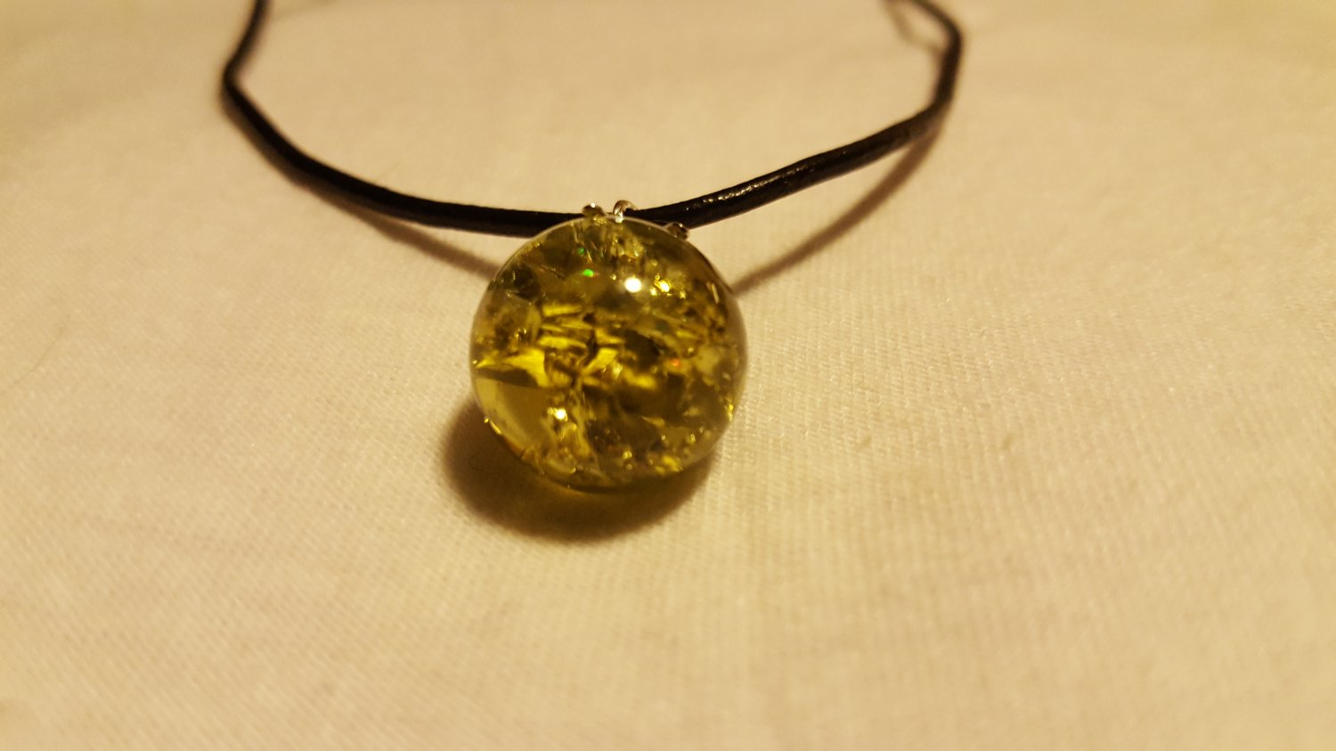 Yellow Cracked Marble on Leather Cord