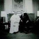 Lyndon B. Johnnson sitting with a pope. - 8x10 photo