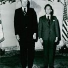 Gerald Rudolph Ford Jr standing with Park Chung-hee. - 8x10 photo