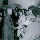 Elsa Brandstrom meeting with people, 1945. - 8x10 photo