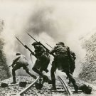 Allied troops charge enemy in Sicily - 8x10 photo