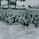 German prisoners taken near Salerno.Soldiers sitting together in a garden and l