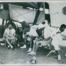 Italo Balbo siting with men during the camping. 1933 - 8x10 photo