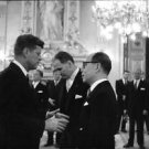 John F. Kennedy communicate with man. - 8x10 photo