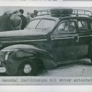 General Marthinsen's car after his assassination in Norway, 1945. - 8x10 photo