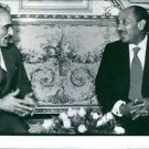 Hussein bin Talal communiacting with Muhammad Anwar El Sadat.  - 8x10 photo