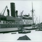 A ship named after Princess Märtha of Sweden anchored at port in Norway. - 8x10