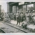 French prisoners of war on the Ham Sation waiting to be transferred. - 8x10 phot