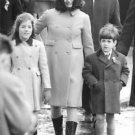 Jacqueline Kennedy Onassis walking with her kids. - 8x10 photo