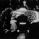John F. Kennedy coffin covered with us flag. - 8x10 photo