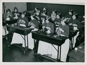 World war II. Girls from Holland knitting - 8x10 photo