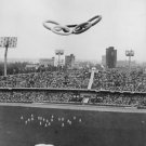 View of olympic rings balloon at Estadio Olimpico, Mexico during the 1968 Summer