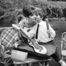 Gina Lollobrigida with her son and guitar. - 8x10 photo