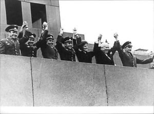 Nikita Khrushchev cheering with people. - 8x10 photo