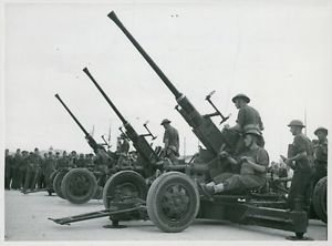 World War II. British anti-aircraft guns ready for action - 8x10 photo