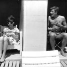 "Audrey Hepburn with Albert Finney waiting for their shot for the movie ""two for"