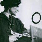 Danish soldier on his guard  holding gun. 1945 - 8x10 photo