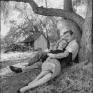 Clark Gable and Greer Garson relaxing under tree. - 8x10 photo