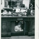 John F Kennedy Jr and father in the Oval office - 8x10 photo