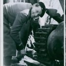 1940A French tank is being repaired after hitting a German land-mine. - 8x10 ph