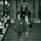 Vintage photo of Raymond Souplex walking with his wife in  Élysée Palace. - 8x10