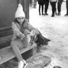 Lisa Todd Burton puts on skates - 8x10 photo