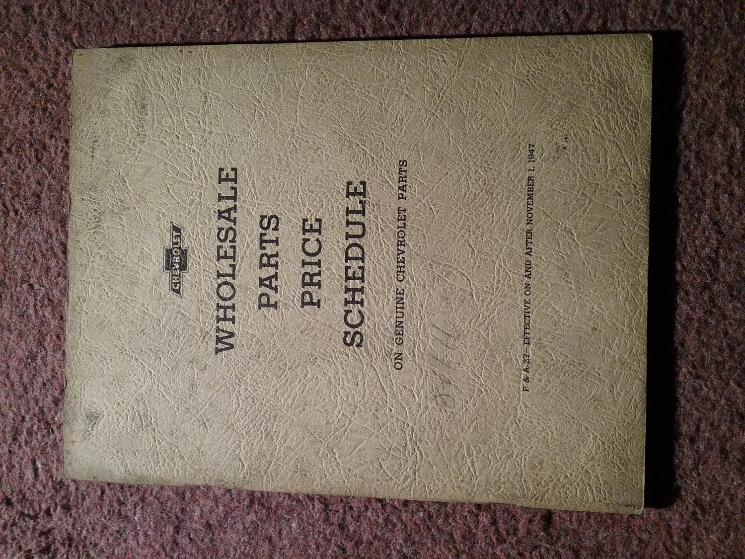 Vintage 1947 Chevrolet Wholesale Parts Price Schedule 070716124