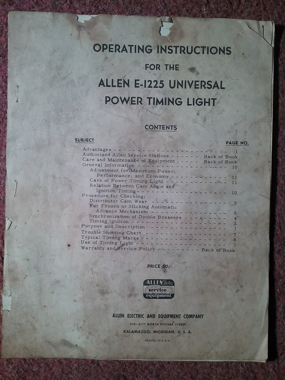 Operating Instructions for the ALLEB E-1225 Universal Timing Light 070716274