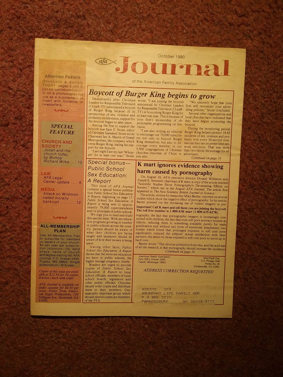 American Family Association Journal, October 1990, Burger King, K Mart 0707161358