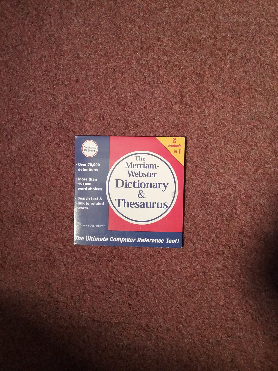 The Mirriam Webster Dictionary and Thesaurus CD ROM  0707161419