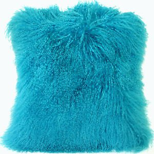 PIllow Decor - Genuine Mongolian Tibetan Sheepskin Lamb Wool Turquoise Blue
