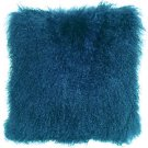 PIllow Decor - Genuine Mongolian Tibetan Sheepskin Lamb Wool Teal Throw Pillow