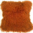 PIllow Decor - Genuine Mongolian Tibetan Sheepskin Lamb Wool Orange Throw Pillow