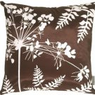 Pillow Decor - Brown with White Spring Flower and Ferns 20x20 Pillow