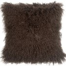 PIllow Decor - Real Mongolian Tibetan Sheepskin Lamb Wool Chocolate Brown Pillow
