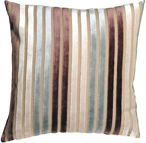 Pillow Decor - Velvet Multi Stripes Blue 20x20 Throw Pillow