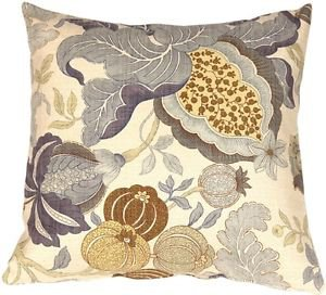 Pillow Decor - Harvest Floral Blue 20x20 Throw Pillow  - SKU: VB1-0022-01-20