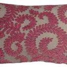 Pillow Decor - Brackendale Ferns Pink Rectangular Throw Pillow