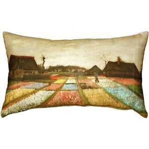 Pillow Decor - Van Gogh Flower Beds in Holland Throw Pillow