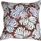 Pillow Decor - Bold Blue Flowers on Chocolate Accent Pillow